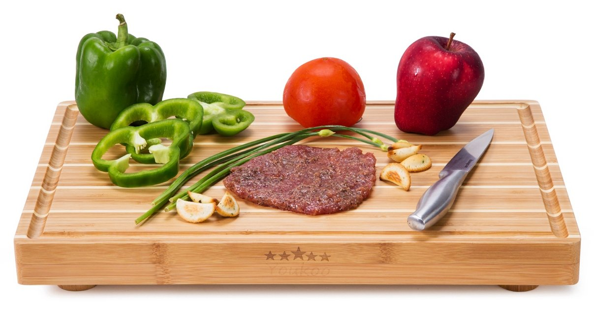Bamboo Wood Thick Chopping Cutting Board with Feet , Large Butcher Block & Serving Tray (18''x12''x2.3'') by Youkoo kitchen