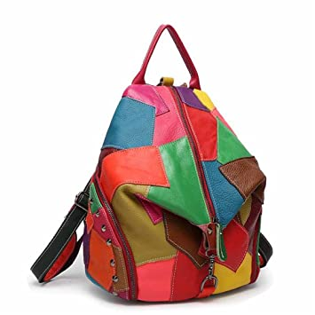 Colorido Diseño Patchwork Mochilas de Lujo Mujer mochilas escolares bolsos de cuero auténtico: Amazon.es: Equipaje
