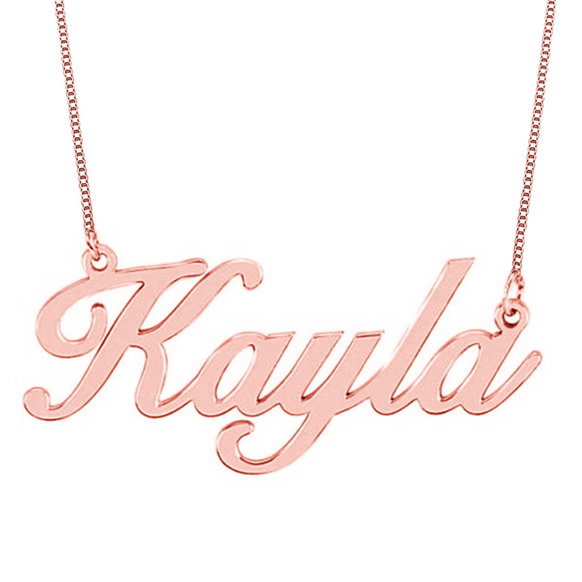 HACOOL Personalized Necklace, Custom Name Necklaces Rose Gold Pendant for her Thanksgiving Day Birthday Gift