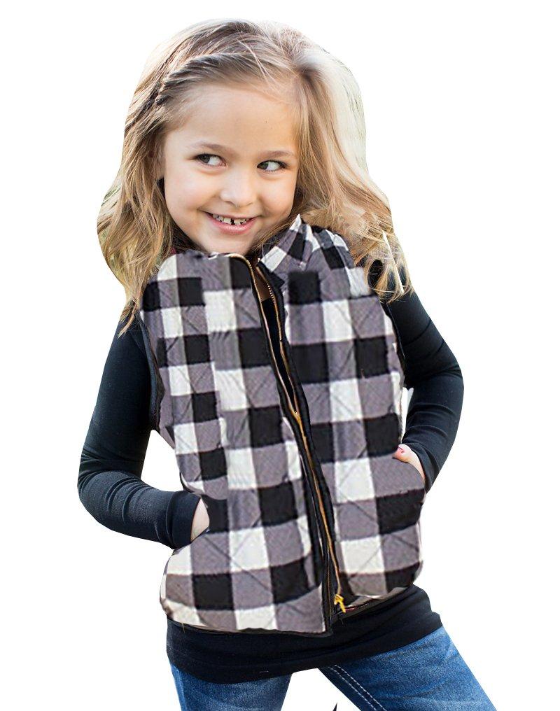 Faisean Girls Plaid Sleeveless Zipper Up Slant Pocket Quilted Vest Puff Lined Gilet