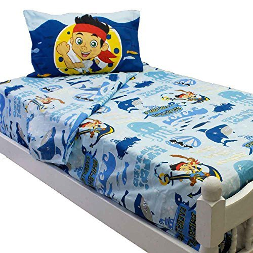 (Disney Jake and the Neverland Pirates Twin Bed Sheet Set Sailing on the Waves Bedding Accessories)