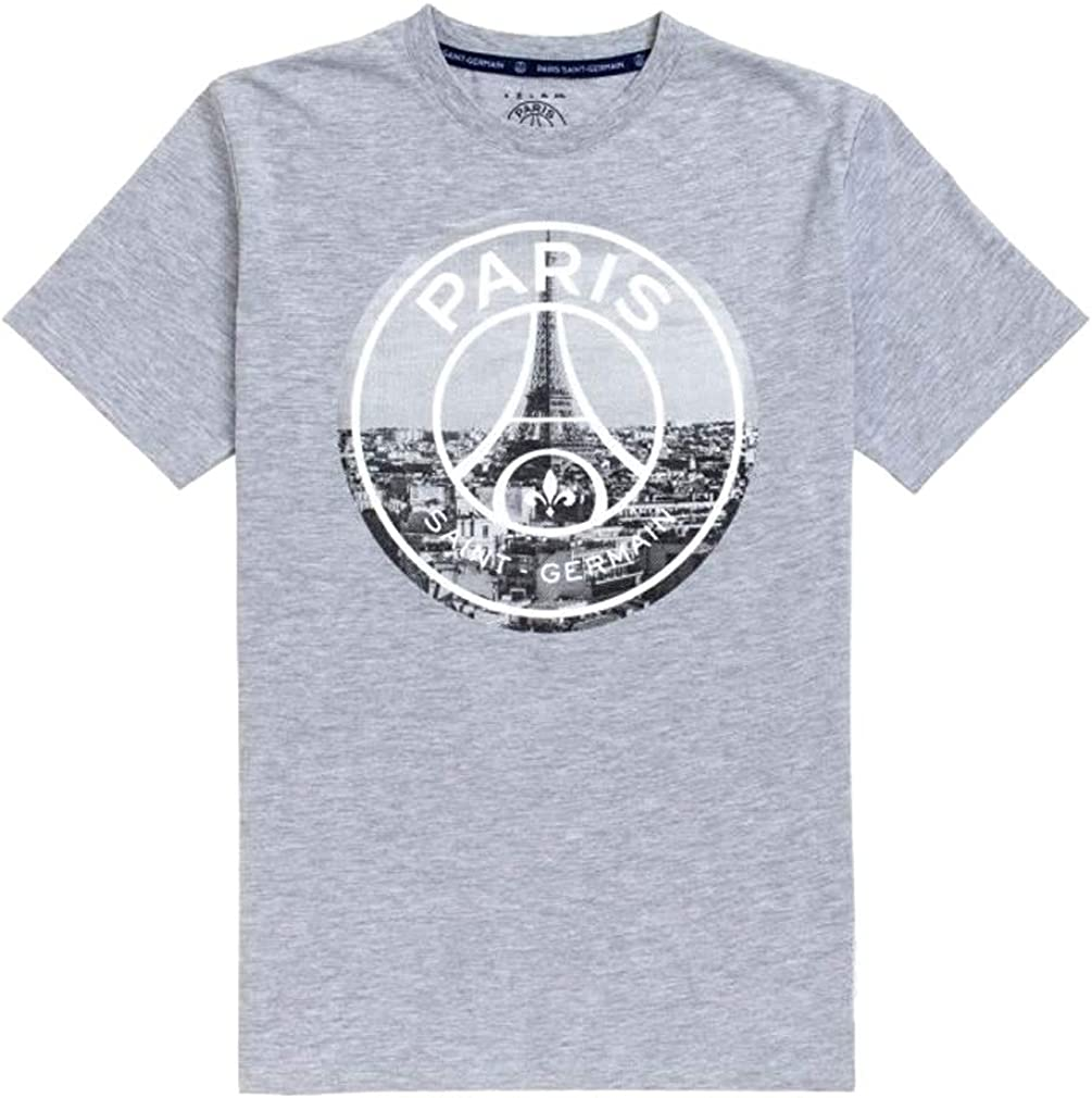 Psg Official Paris Saint Germain Eiffel Tower Men S T Shirt Grey Amazon Com