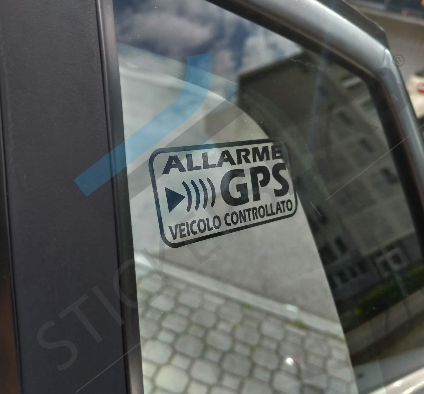 12x6cm Adesivi Allarme GPS antifurto satellitare per Evitare i furti Auto Moto Camion Nero Quantit/à - 4 Pezzi StickersLab