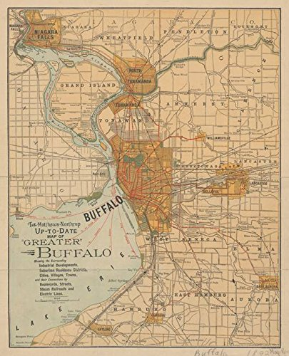 Imagekind Wall Art Print Entitled Vintage Map of Buffalo NY (1893) by Alleycatshirts @Zazzle | 16 x ()
