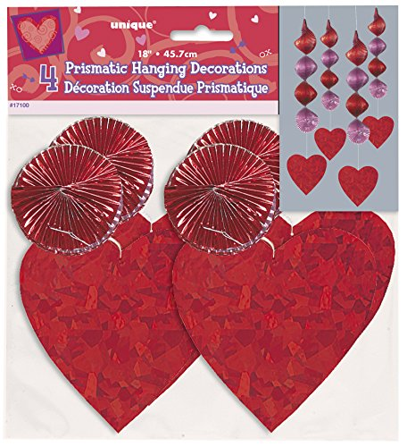 Hanging Foil Red Heart Decorations