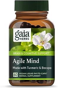 Gaia Herbs, Agile Mind, Brain & Cognitive Support, Turmeric, Bacopa, Ginkgo, Vegan Liquid Capsules, 60Count