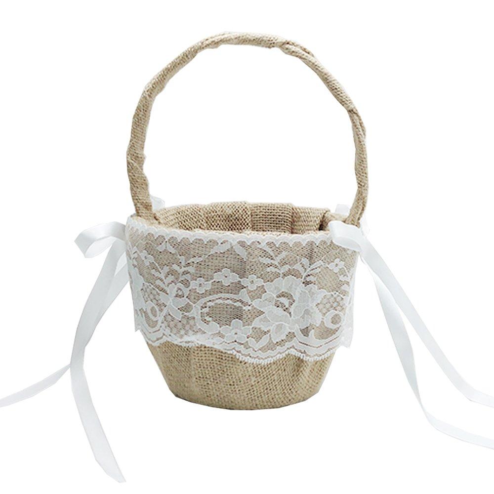 EDOBLUE Vintage Retro Lace Bow Wedding Flower Girl Basket … (Basket)