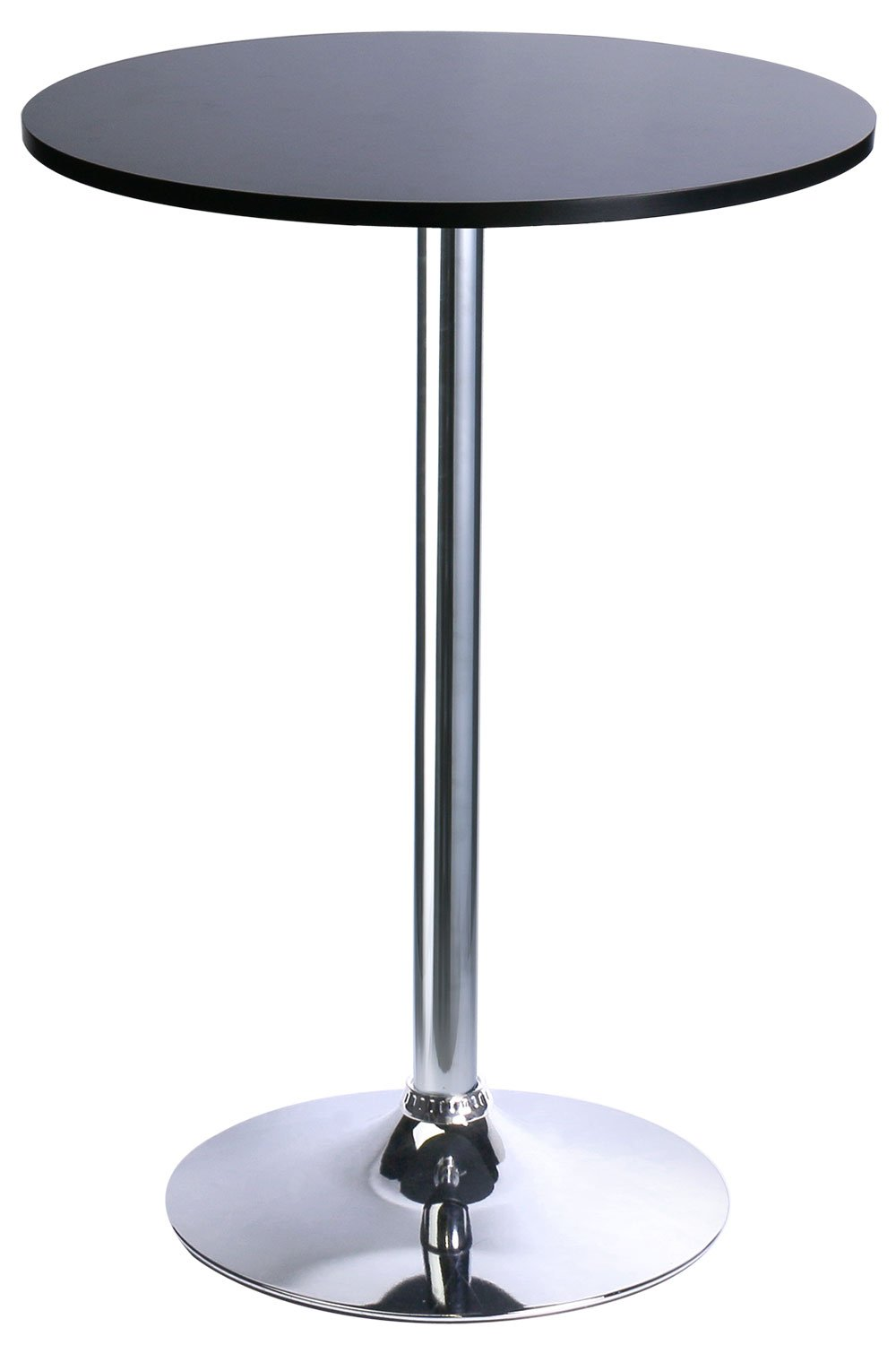 Leopard MDF Round Top Not Adjustable (41 INCHES Height) Bar Table, Pub Table with Silver Leg and Base (Black)