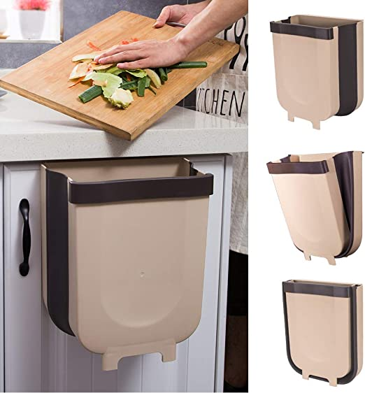 Amazon Com Yibaision Hanging Trash Can For Kitchen Cabinet Door Collapsible Trash Bin Small Compact Garbage Can Attached To Cabinet Door Kitchen Drawer Bedroom Dorm Room Car Waste Bin 9l Home