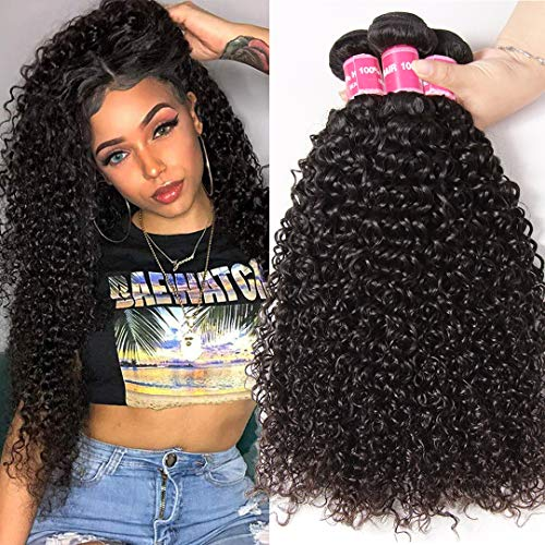 Jolia Hair 8a Brazilian Remy Hair Bundles Curly Hair 14 16 18inch Natural Black Tight Curl Weave Hair Extensions 100% Real Human Hair Weft Double - We May Shed These Human Bodies
