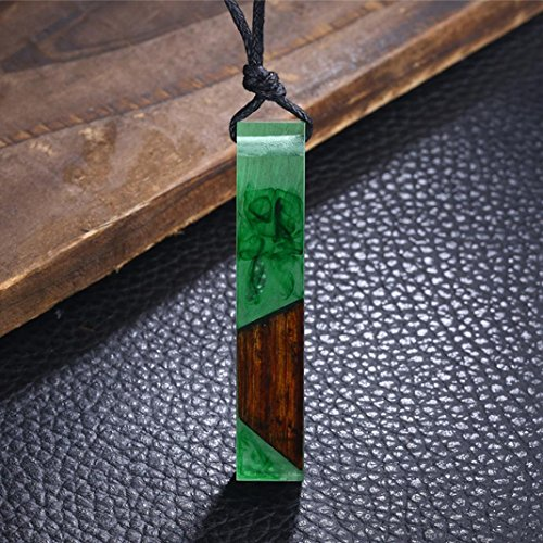 Fashionable Necklaces,RTYou Color Jewelry Popular Colored Resin Wood Pendant Rope Chain Necklace (Green)