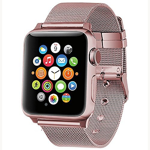 (SIXRARI for Watch Band 40mm 38mm,Metal Mesh Loop Stainless Steel Bands with Classic Buckle Replacement Strap Wrist for IWatch Series 4 3 2 1 - Rose Gold )
