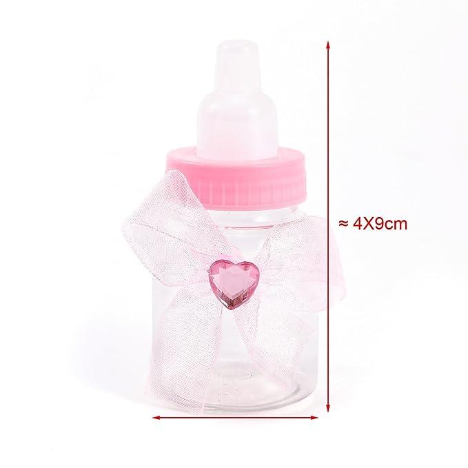 CLE DE TOUS - 24pcs Mini biberón Dulceros Recuerdos para Dulces Regalos para baby showers Bautizo (Rosa Corazón con cinta): Amazon.es: Hogar