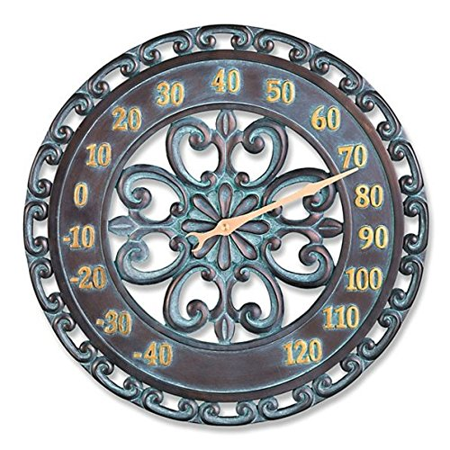 2 Piece Outdoor Verdigris Clock and Thermometer Set Patio Lawn Garden Wall Decor by DermaPAD (Image #2)