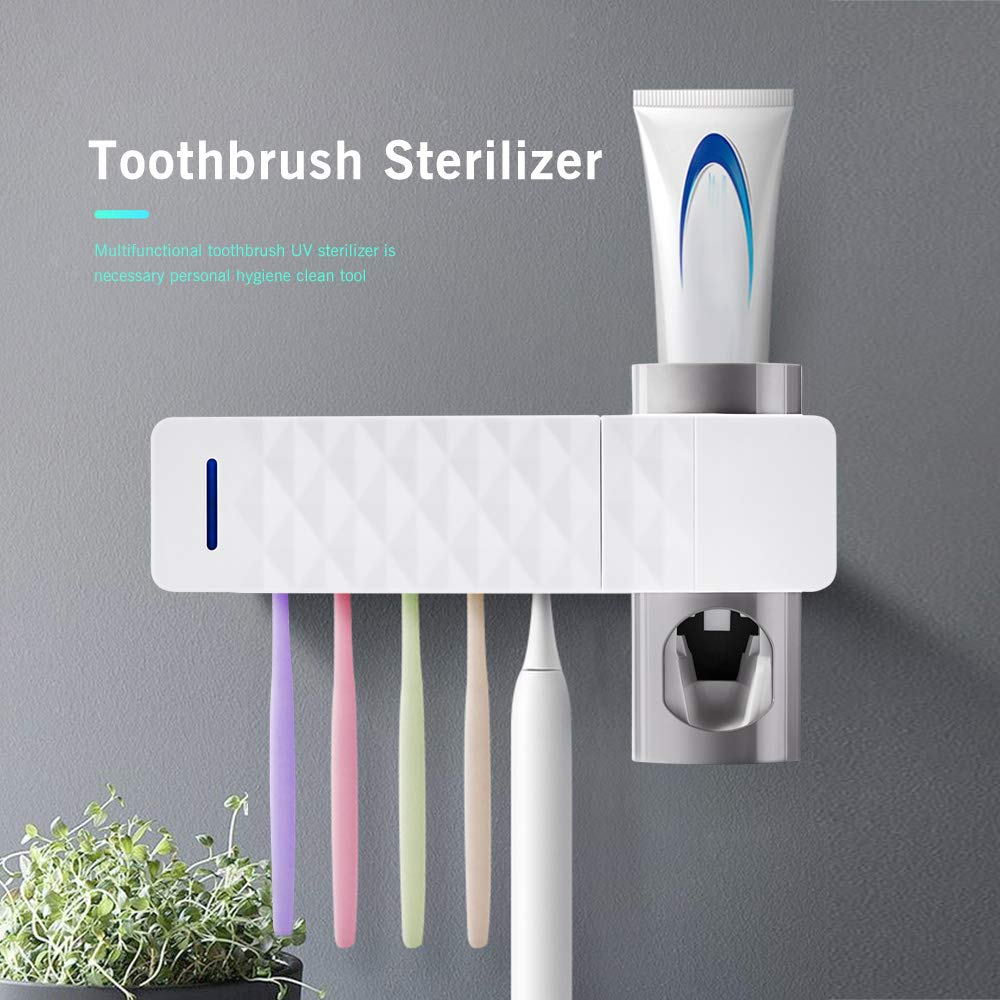 ALLOMN Toothpaste Dispenser and Toothbrush Holder, UV Toothbrush Sterilizer Holder Wall Mount Automatic Toothpaste Dispenser with Toothbrush Holder USB Powered (White) by ALLOMN