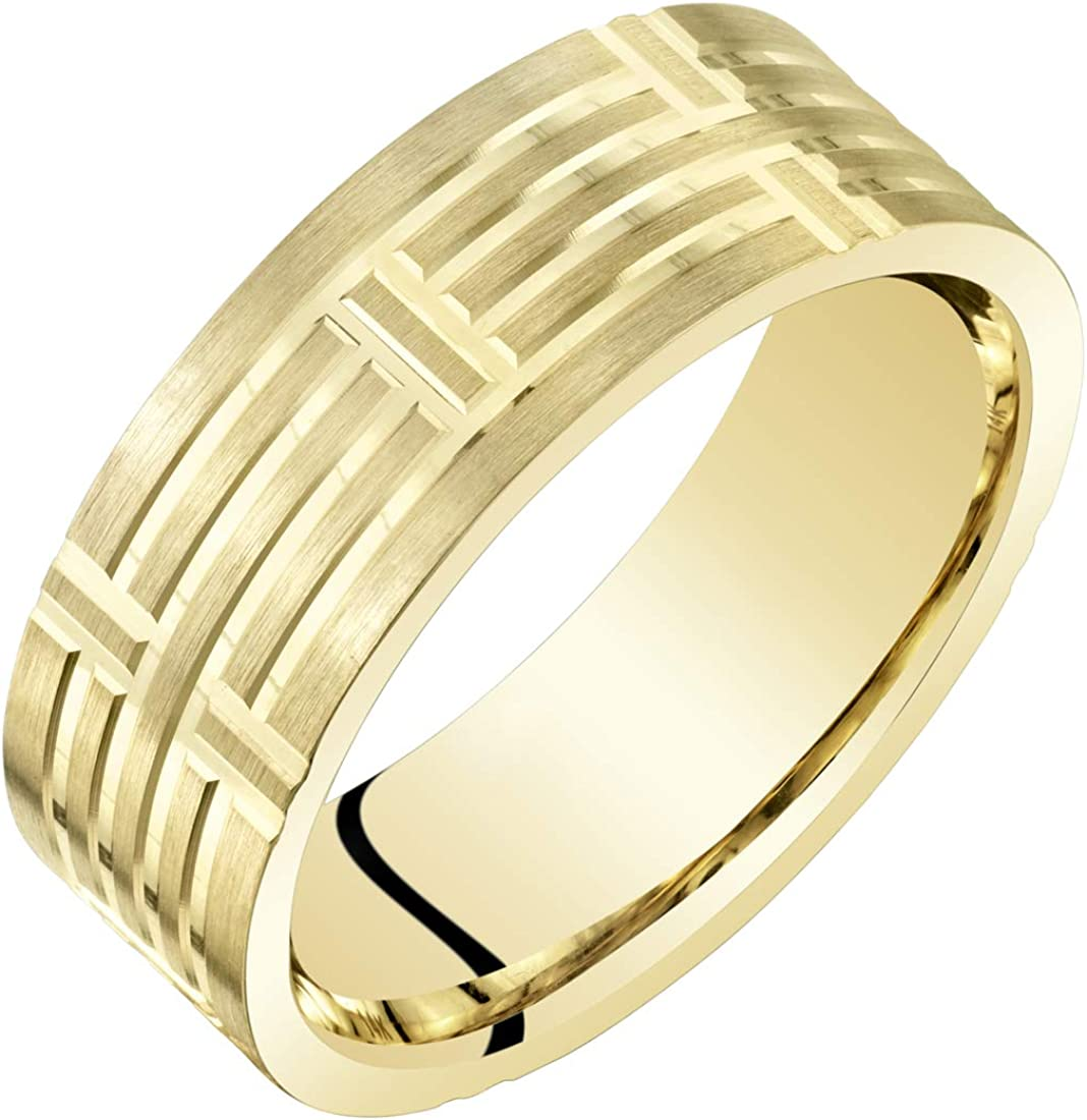 Mens 14K Yellow Gold Wedding Ring Band 7mm Geometric Style Comfort Fit Sizes 8 to 14