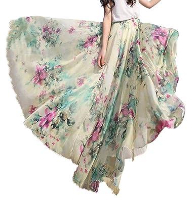 a45a65530d5 Tomwell Women s Floral Print Long Maxi Skirt Bohemian Chiffon Summer Beach  Wrap Split Multicoloured UK 6