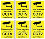 Smarts-Art 6 x CCTV Signs Self Adhesive 100mm x 75mm In Or Outdoo
