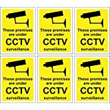 6 x CCTV Signs Self Adhesive 100mm x 75mm In Or Outdoor