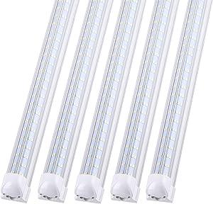 T8 Integrated LED Tube Light 4 Foot V Shaped,Double Side, 48W 5760LM, 90W Equivalent, Shop Lighting Clear Cover, Super Bright White 6500K, AC85-277V, LED Cooler Door Lights Pack of 25
