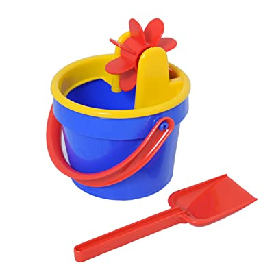 The Original Toy Company - Water and Sand Wheel Bucket Set - Four Piece Beach Toy for Kids - Includes Red Sand Shovel - Easy Use for Toddlers - Promotes Active Outdoor Play: Toys & Games