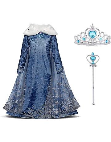 2c41f963dd8154 URAQT Mädchen Prinzessin ELSA Kleid Kostüm Eisprinzessin Set aus Diadem