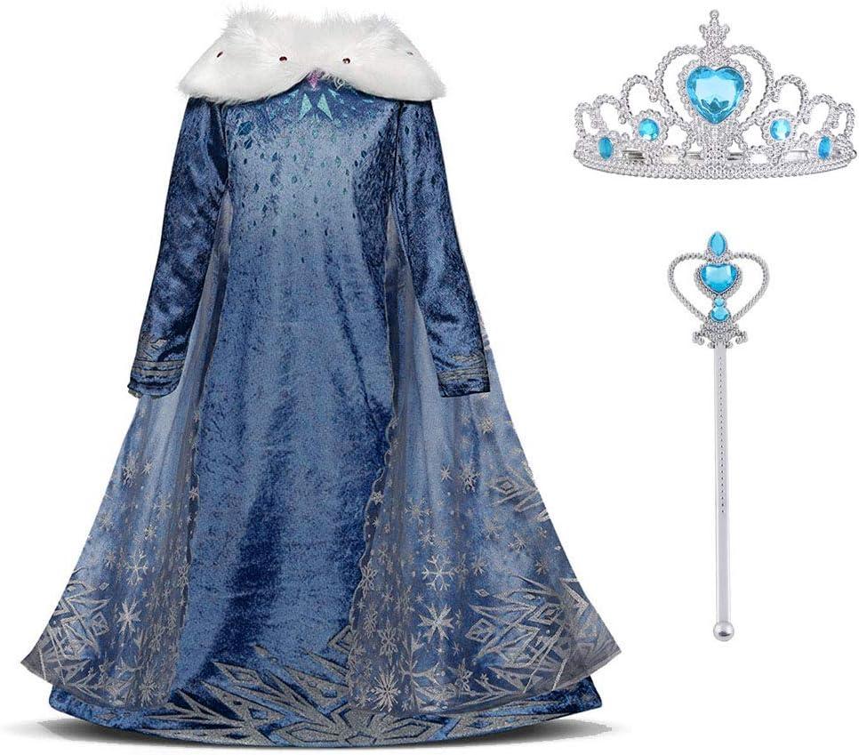 URAQT Vestido Princesa Disfraz Traje Parte Disfraces Las Niñas Vestido, Cosplay de Disney Disfraz de Halloween, Cumpleaños, Carnaval y la Fiesta, 130cm