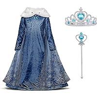 URAQT Disfraz de Elsa, Vestido de Princesa Elsa, Vestido de Copo de Nieve de Encaje Fino con Varita de Hada y Tiara de…