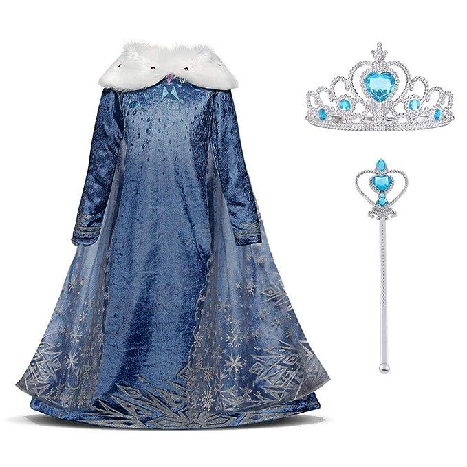 71f9c7100 URAQT Vestido Princesa Disfraz Traje Parte Disfraces Las Niñas Vestido,  Cosplay de Disney Disfraz de Halloween, Cumpleaños, Carnaval y la Fiesta,  ...