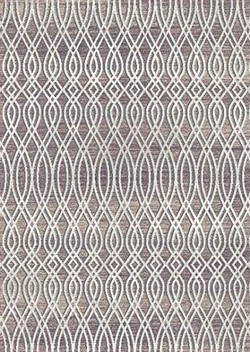 PlanetRugs Symphony Area Rug (5'2'' X 7'6'') Design 27003 Taupe Ivory Cream Beige Trellis Moroccan Modern Geometric Wavy Lines Contemporary for Bedroom, Living Room, Dining (Symphony Taupe Rug)