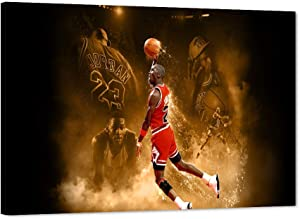 Michael Jordan Canvas Wall Art MJ Canvas Print for Home Wall Decor, Michael Jordan Poster Sports Basketball Canvas Painting for Men Teen Boys Room Decor, Framed Canvas Print Ready to Hang (12W x18H)
