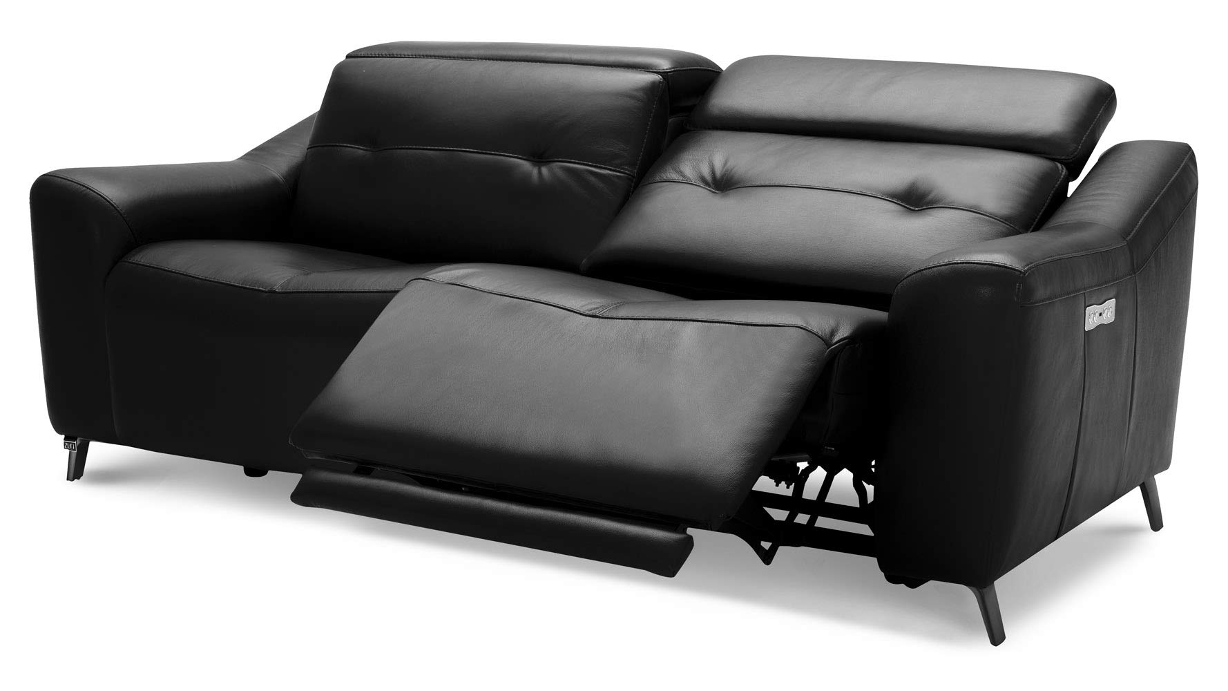 Zuri Furniture Modern Linq Power Reclining Black Leather Sofa Set with  Loveseat and Lounge Chair