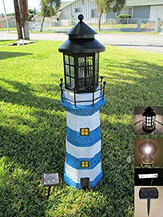 Charmant Garden Sunlight C5116W1 Solar Lighthouse Garden Decor, Blue/White, White  LEDs, (
