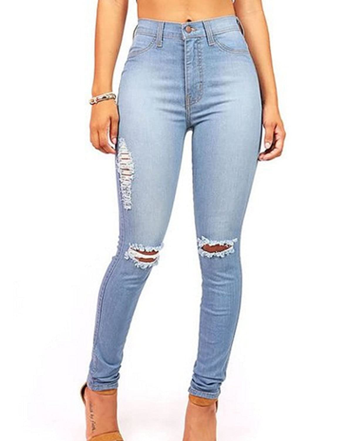 Burvogue Women Stretch Ripped Distressed Skinny Jeans Denim Pants IQ-BM3R-0BRT