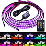 Govee Car Underglow Lights, 4 Pcs Led Strip Car Lights, 8 Color Neon Accent Lights Strip, Sync to Music, Wireless Remote Control 5050 RGB LED Strip Lights with Cable Tie & Screw