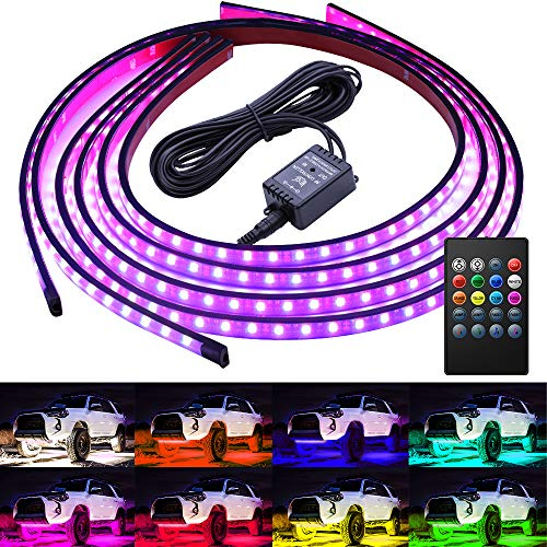 Govee Car Underglow Lights, 4 Pcs Led Strip Car Lights, 8 Color Neon Accent Lights Strip, Sync to Music, Wireless Remote Control 5050 RGB LED Strip Lights with Cable Tie & Screw (Led Wheel Rim Light Kit With Wireless Remote)