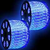 WYZworks 300' feet Blue LED Rope Lights - Flexible 2 Wire Accent Holiday Christmas Party Decoration Lighting