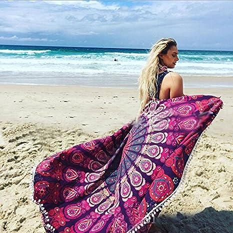 AliExpress Amazon toalla de playa 2016 redondo toalla de playa sol Shawl Wrap falda con encaje, color morado: Amazon.es: Hogar