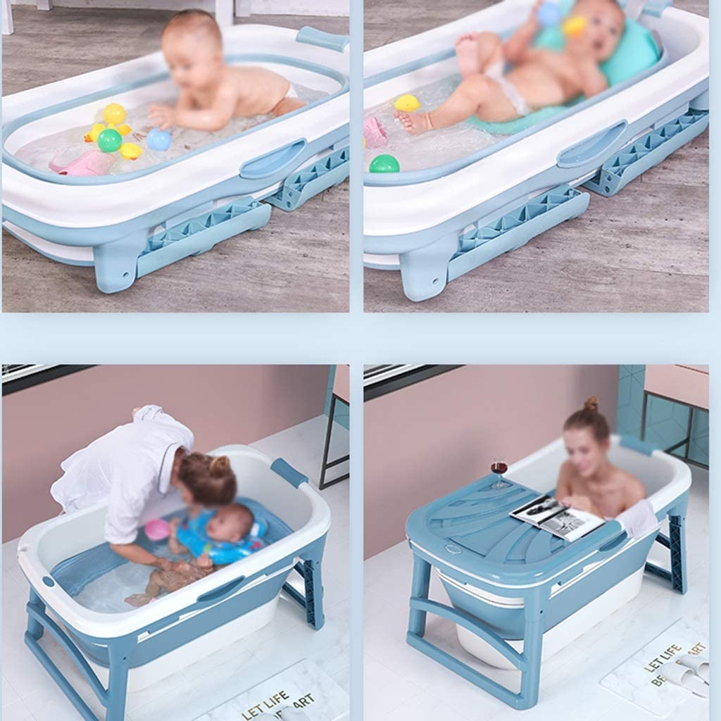 Adult Folding Bathtub Portable Bathtub Color : Pink Non-Slip Insulation Household Plastic Hot Tub Foldable Baby Tub with Cover Color: Blue, Pink