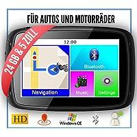 Elebest Rider W5 Motorrad,PKW Navigationsgerät, 5 Zoll (12,7 cm) Touchscreen,Bluetooth,Wasserdicht,Neuste Europa Karten und Radarwarner,24GB Speicher,Kostenlose Kartenupdate,GPS