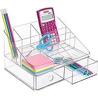 mDesign Büromaterial-/Schreibtisch-Organizer für Schere, Stifte, Kugelschreiber, Textmarker, Klebeband - 2 Schubladen, Durchsichtig