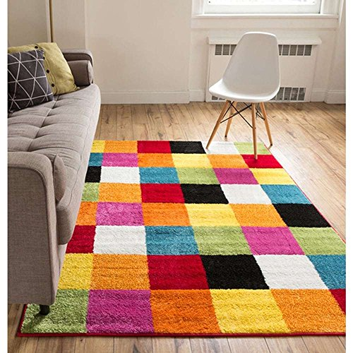 5'x7' Multi Colored Red Blue Yellow Orange Pink White Green Geometric Patterned Area Rug, Indoor Color Block Living Room Mat Rectangle Carpet, Abstract Vivid Colors Polypropylene Contemporary Flooring - Orange Block Rug