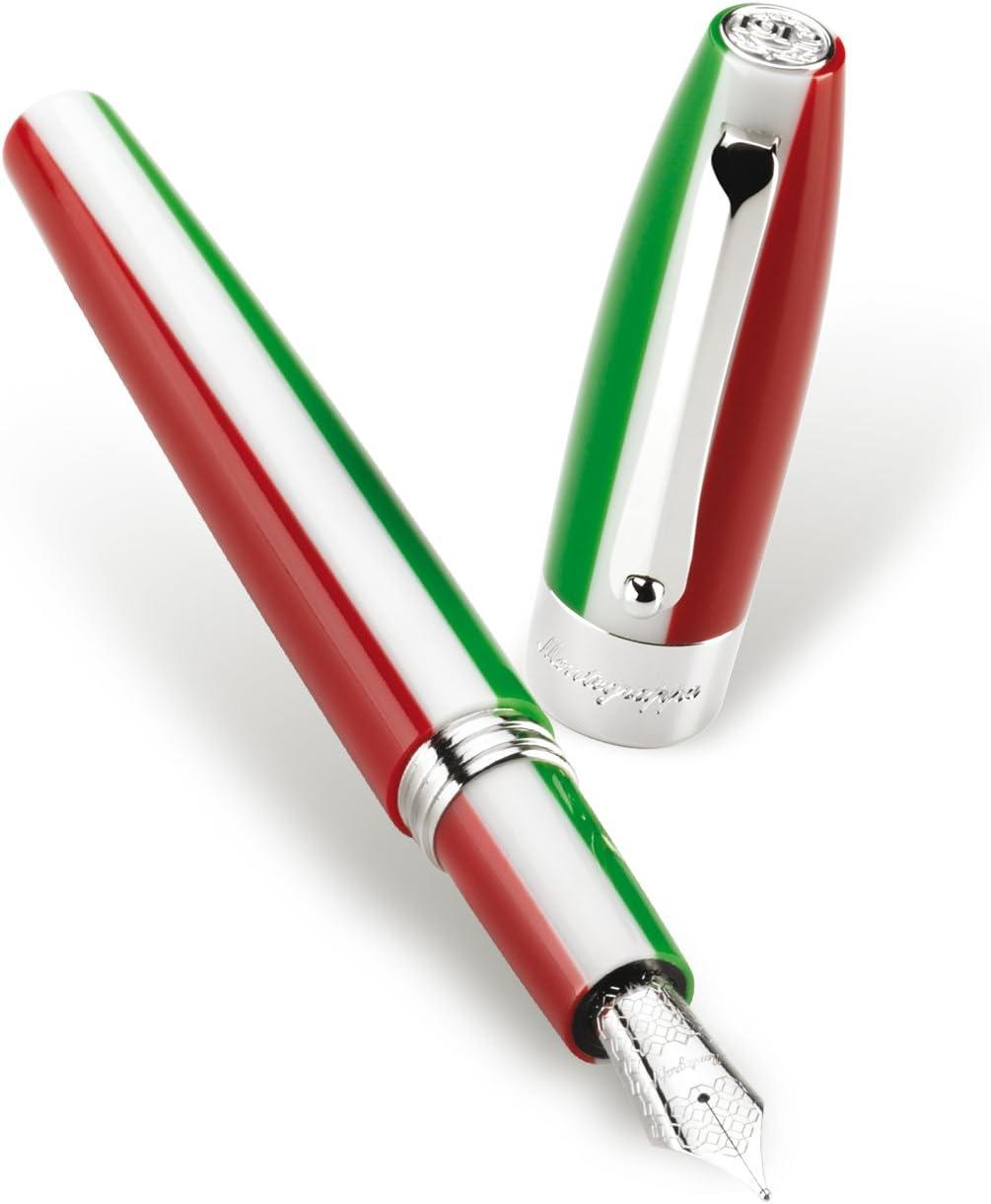 /feder F penna stilografica Montegrappa fortuna tricolore Italia/