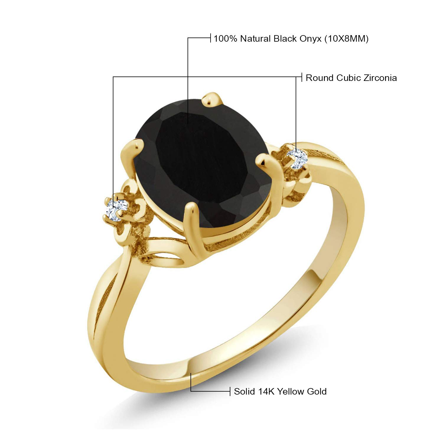 0791458255897 Gem Stone King 14K Yellow Gold Black Onyx Women's Ring (2.23 cttw Oval  Available 5,6,7,8,9)