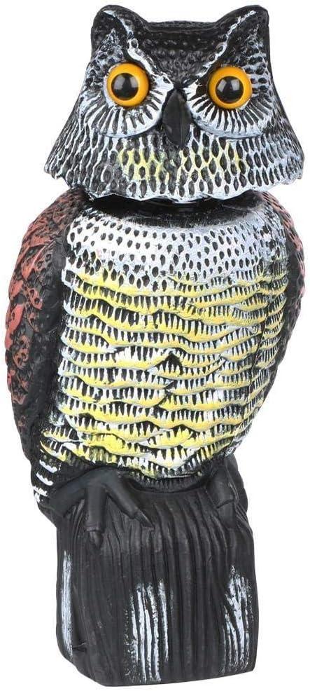 LANGING 1 pieza de búho, cabeza giratoria para pájaros, palomas, espantapájaros