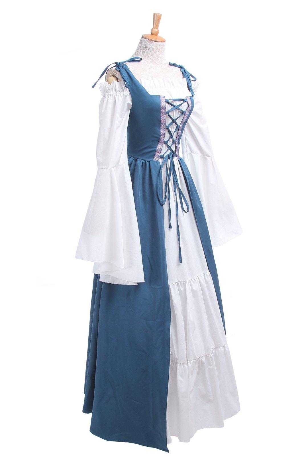 ROLECOS Womens Renaissance Medieval Irish Costume Boho Underdress Overdress Coat Light Blue L by ROLECOS (Image #6)