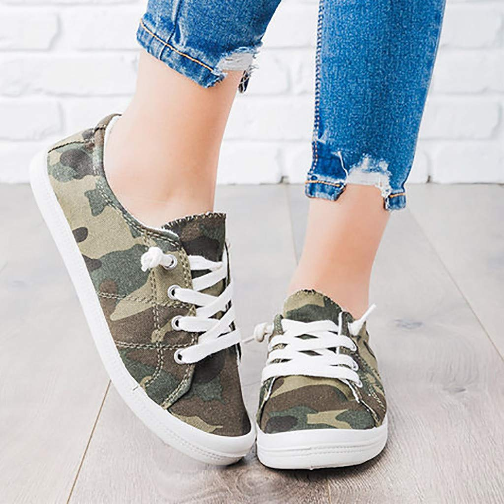 Womens Canvas Fashion Sneakers Classic Flat Sports Walking Running Shoes Camouflage Low Top Lace Up Shoes