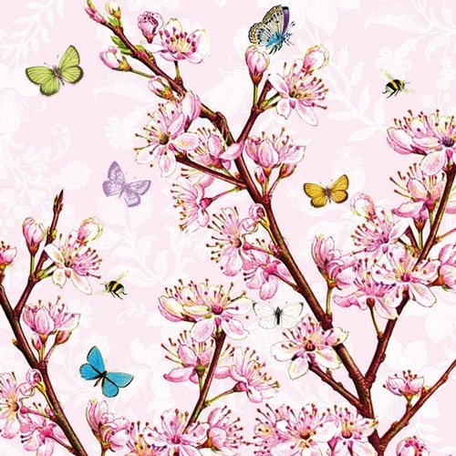 Servilletas de papel –  rosa flores rosa 33 cm (Pack de 20) Ambiente