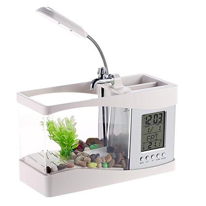 Office Desk Creative Decoration Mini USB Aquarium Home Mini Fish Tank With  LED Light Clock Calendar