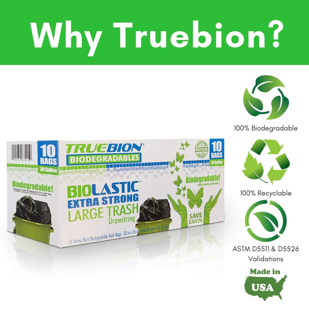 TRUEBION Certified ASTM D5511 D5526 100% Biodegradable, 10 Count,30 gallons, Heavy...